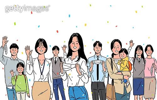 기쁨, 밝은표정, 희망 (컨셉), 마스크 (방호용품), 코로나바이러스 (바이러스), 코로나19 (코로나바이러스), 환호 (말하기), 봄, 여러명[3-5] (사람들)