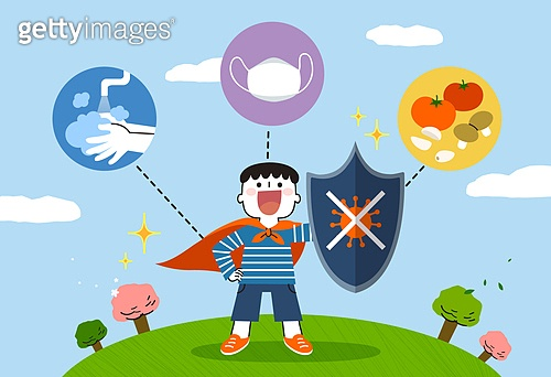 코로나바이러스 (바이러스), 코로나19 (코로나바이러스), 어린이 (나이), 어린이날 (홀리데이), 면역력, 남자아기, 방패