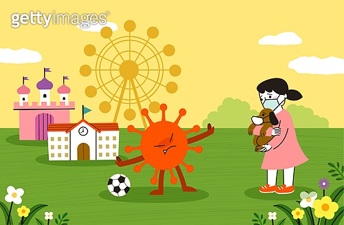 코로나바이러스 (바이러스), 코로나19 (코로나바이러스), 어린이 (나이), 어린이날 (홀리데이), 테마파크 (엔터테인먼트빌딩), 학교건물 (교육시설), 바이러스