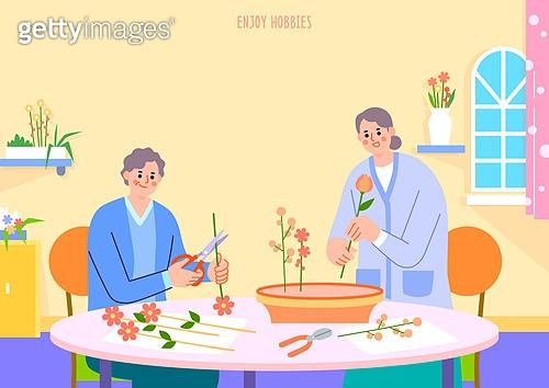 취미, 여가 (주제), 휴식 (정지활동), 노인 (성인), 꽃, 꽃꽂이