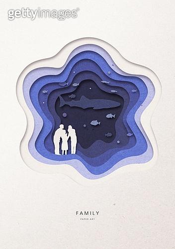 페이퍼아트, 종이, 가족, 실루엣, 5월, 함께함 (컨셉), 커플, 부부, 수족관, 고래 (해양포유류)