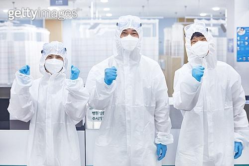 코로나바이러스 (바이러스), 코로나19 (코로나바이러스), 방호복 (방호용품), 병원 (의료시설), 병동근무원 (의료직), 의사, 간호사, 의사 (의료직), 한국인, 희망 (컨셉), 성원 (컨셉), 파이팅 (흔들기)