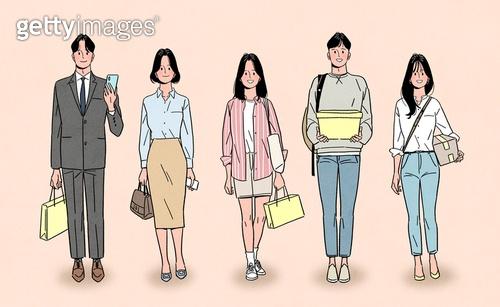 일렬 (배열), 사람들 (사람의수), 여러명[3-5] (사람들), 청년 (성인), 밝은표정, 화이트칼라 (전문직), 워킹맘, 대학생, 쇼핑백, 쇼핑 (상업활동)