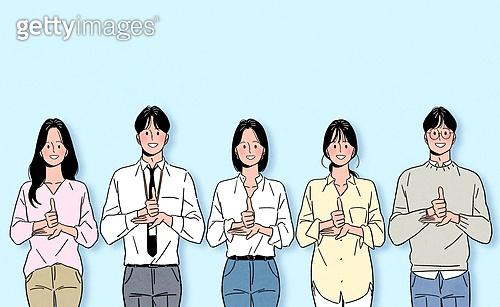 일렬 (배열), 사람들 (사람의수), 여러명[3-5] (사람들), 밝은표정, 수화, 존경 (컨셉), 환호 (말하기), 화이트칼라 (전문직)