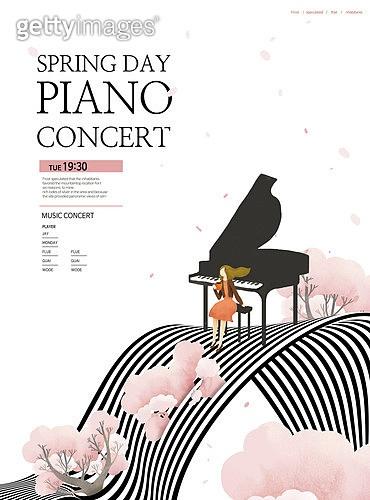 그래픽이미지, 봄, 상업이벤트 (사건), 나무, 음악, 악기, 포스터, 이벤트페이지, 피아노