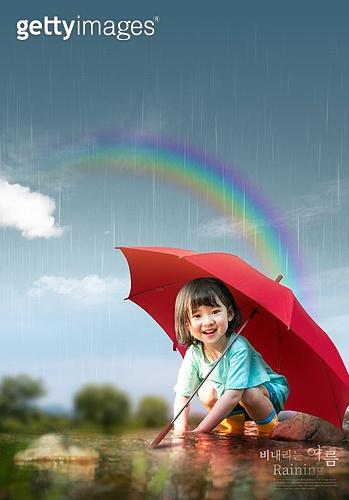 그래픽이미지, 비 (물형태), 날씨, 풍경 (컨셉), 여름, 장마 (계절), 우산 (액세서리), 무지개