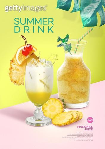 여름, 음료, 카페, 차가운음료 (무알콜음료), 시원함 (컨셉), 잎, 주스 (차가운음료), 파인애플주스