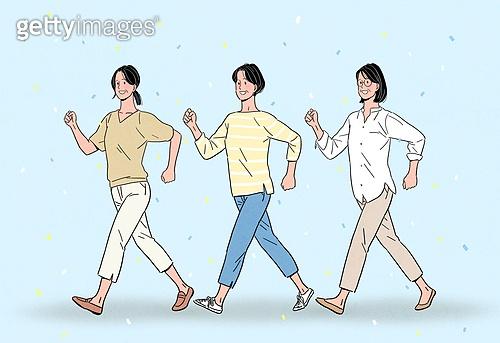 노인 (성인), 장년 (성인), 희망 (컨셉), 밝은표정, 웃음 (얼굴표정), 걷기, 중년여자 (성인여자)