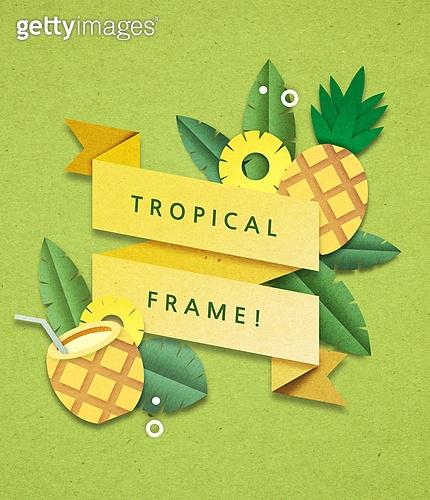 종이 (재료), 페이퍼아트, 여름, 꽃, 열대과일 (과일), 프레임, 파인애플