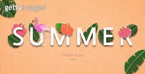 종이 (재료), 페이퍼아트, 여름, 꽃, 열대과일 (과일), 타이포그래피 (문자)