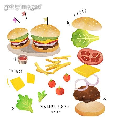 수채화 (회화기법), 음식, 레시피, 음식재료, 요리 (음식상태), 햄버거, 프렌치프라이 (스낵)