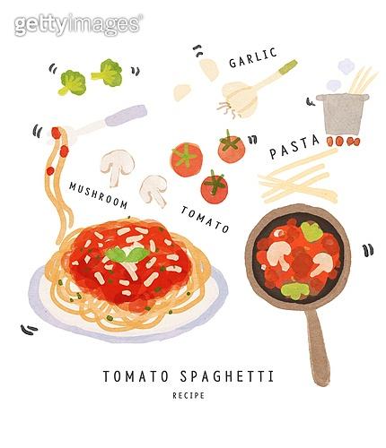 수채화 (회화기법), 음식, 레시피, 음식재료, 요리 (음식상태), 파스타, 스파게티, 토마토