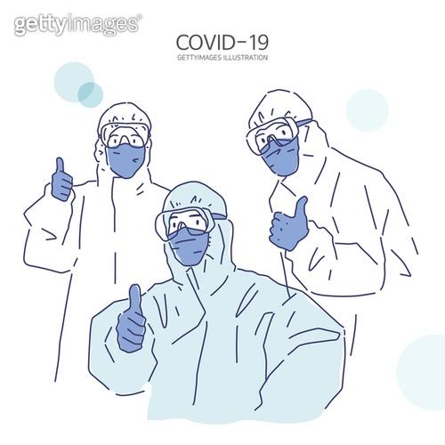 일러스트, 코로나바이러스 (바이러스), 코로나19 (코로나바이러스), 사회적거리두기 (사회이슈), 바이러스, COVID-19 (Coronavirus), 전염병 (질병), 바이러스감염 (질병), 질병, 방호복 (방호용품)