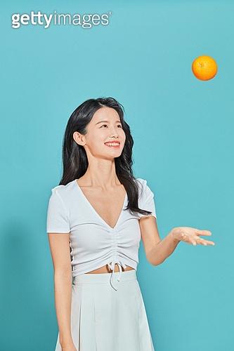 여성, 뷰티, 여름, 오렌지, 미소, 던지기