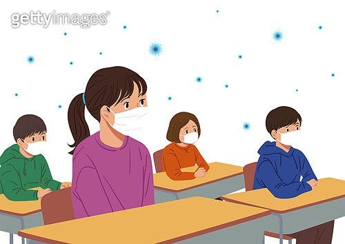 코로나바이러스 (바이러스), 코로나19 (코로나바이러스), 사회적거리두기 (사회이슈), 방심, 마스크 (방호용품), 바이러스, 교실, 어린이 (나이)