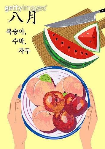 음식, 제철음식, 탑앵글 (카메라앵글), 8월, 복숭아, 수박, 자두