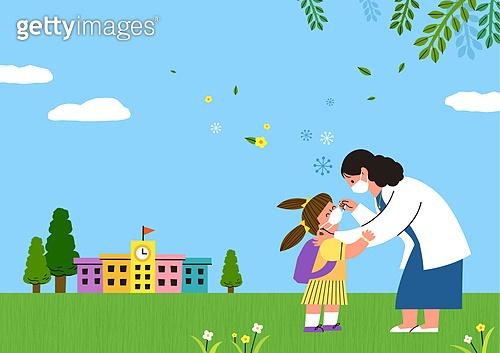 교육 (주제), 학교, 학생, 코로나바이러스 (바이러스), 코로나19 (코로나바이러스), 출석 (움직이는활동), 마스크 (방호용품), 학교건물 (교육시설)