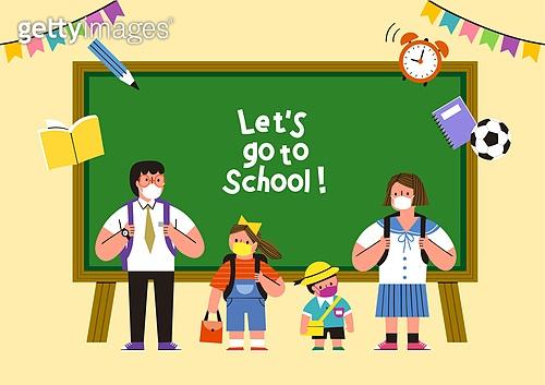 교육 (주제), 학교, 학생, 코로나바이러스 (바이러스), 코로나19 (코로나바이러스), 출석 (움직이는활동), 교복, 칠판, 가랜드 (장식품), 마스크 (방호용품)