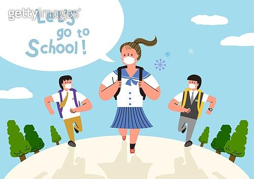 교육 (주제), 학교, 학생, 코로나바이러스 (바이러스), 코로나19 (코로나바이러스), 출석 (움직이는활동), 여름, 교복, 마스크 (방호용품)