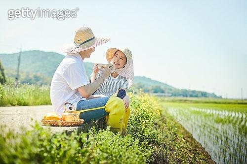 귀농, 시골풍경 (교외전경), 농부 (농촌직업), 농업 (주제), 벼, 시골풍경, 막걸리, 휴식 (정지활동)
