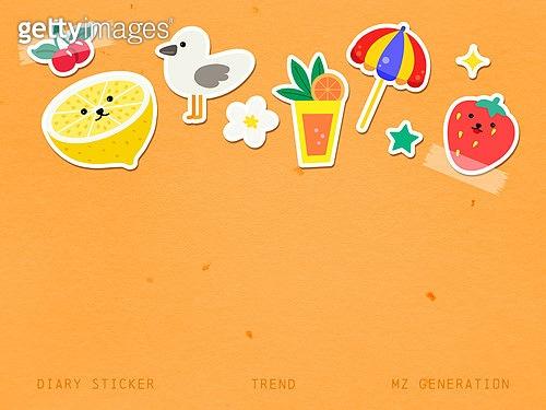 캐릭터, MZ세대, 다꾸, 다이어리, 스티커, 여름, 오브젝트 (묘사), 취미