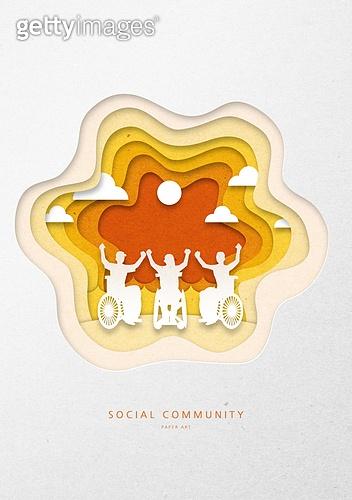 종이 (재료), 페이퍼아트, 프레임, 공동체 (컨셉), 사람, 함께함 (컨셉), 휠체어, 신체장애 (장애)