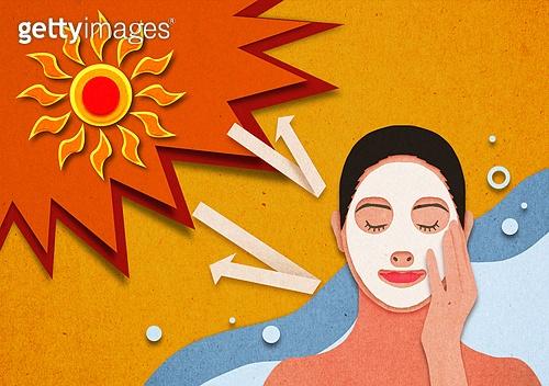종이 (재료), 페이퍼아트, 뜨거움 (컨셉), 뜨거움, 여름, 태양, 자외선, 폭염, 선크림 (화장품)