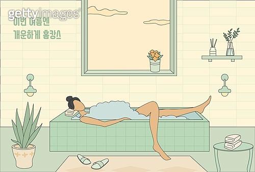 홈캉스,여자,창문,욕조,목욕