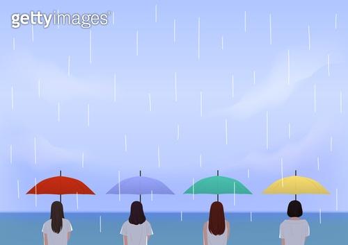 비 (물형태), 장마, 여름, 뒷모습, 흐린날씨 (하늘), 우산 (액세서리)
