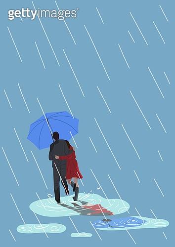 비 (물형태), 장마, 여름, 뒷모습, 흐린날씨 (하늘), 우산 (액세서리), 커플