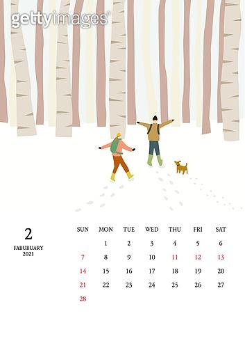 달력 (시간도구), 달력, 풍경 (컨셉), 계절, 2021년, 겨울, 2월, 눈 (얼어있는물), 자작나무