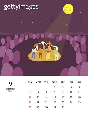 달력 (시간도구), 달력, 풍경 (컨셉), 계절, 2021년, 9월, 보름달 (달), 추석 (명절), 강강술래 (파티게임), 가을
