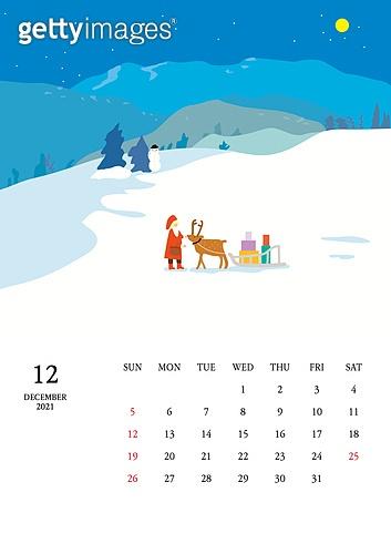 달력 (시간도구), 달력, 풍경 (컨셉), 계절, 2021년, 겨울, 12월, 산타클로스 (가상존재), 썰매 (레크리에이션장비)