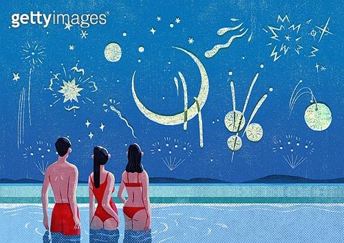 여름, 밤 (시간대), 풍경 (컨셉), 불꽃놀이 (엔터테인먼트이벤트), 수영장, 뒷모습, 초승달