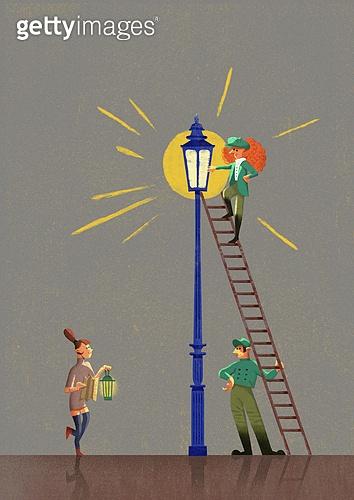 위로, 용기 (인조물건), 희망 (컨셉), 정신건강, 사람, 가로등, 빛 (자연현상), 사다리