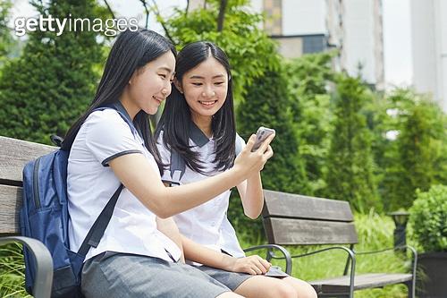 십대 (나이), 고등학생, 교육 (주제), 중학생, 학생, 친구, 친구 (컨셉), 학교생활, 스마트폰, 화상통화, 여학생, 십대소녀