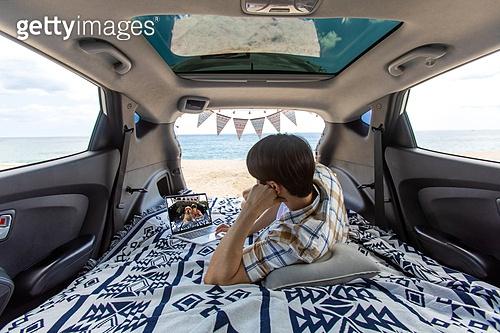 남성, 차박캠핑 (캠핑), 캠핑, 휴가, 혼자여행 (여행)