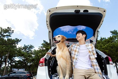 남성, 차박캠핑 (캠핑), 캠핑, 휴가, 혼자여행 (여행), 리트리버, 골든리트리버, 반려동물 (길든동물), 미소, 응시 (감각사용)