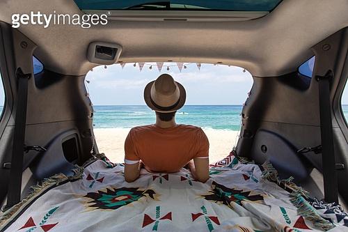 남성, 차박캠핑 (캠핑), 캠핑, 휴가, 혼자여행 (여행), 뒷모습