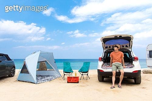 남성, 차박캠핑 (캠핑), 캠핑, 휴가, 혼자여행 (여행), 하늘