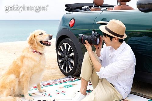 남성, 차박캠핑 (캠핑), 캠핑, 휴가, 혼자여행 (여행), 리트리버, 골든리트리버, 반려동물 (길든동물), 카메라, 미소
