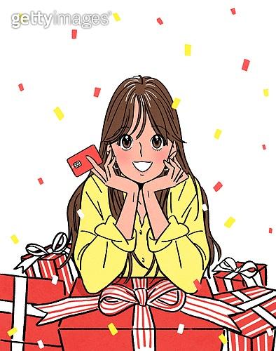 여성 (성별), 쇼핑 (상업활동), 상업이벤트 (사건), 만화, 꽃가루, 밝은표정, 선물 (인조물건), 턱괴기 (만지기)