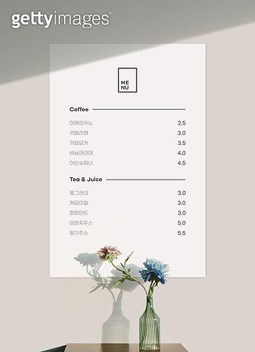 메뉴, 목업, 백그라운드, 벽 (건물특징), 카페, 꽃병