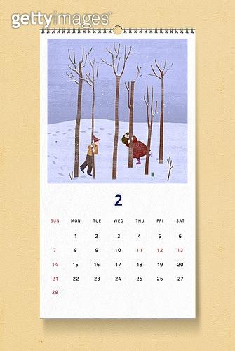 소띠해 (십이지신), 2021년, 달력, 벽걸이, 목업, 드로잉작품 (미술품), 겨울, 2월