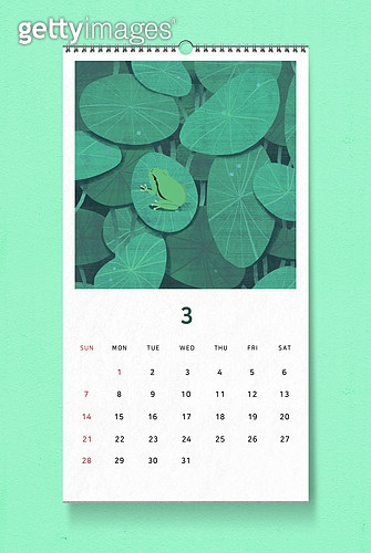 소띠해 (십이지신), 2021년, 달력, 벽걸이, 목업, 드로잉작품 (미술품), 봄, 3월