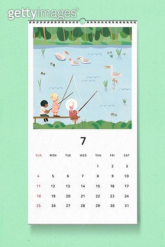 소띠해 (십이지신), 2021년, 달력, 벽걸이, 목업, 드로잉작품 (미술품), 여름, 7월