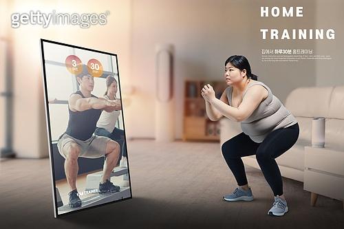비대면 (사회이슈), 홈트레이닝, 다이어트, 운동, 집콕 (컨셉), 실내, 건강한생활 (주제)