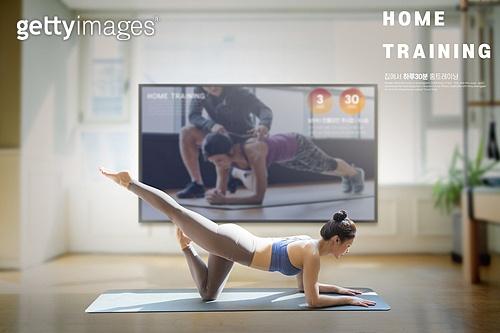 비대면 (사회이슈), 홈트레이닝, 다이어트, 운동, 집콕 (컨셉), 실내, 텔레비전 (전기용품)
