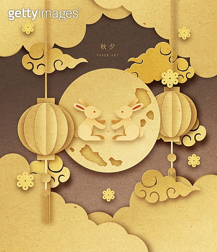 종이 (재료), 페이퍼아트, 추석 (명절), 명절 (한국문화), 보름달, 프레임, 토끼 (토끼목), 전통문화