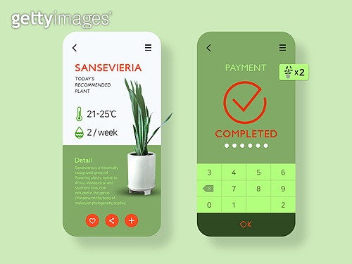 모바일템플릿, Graphical User Interface (Topic), 집콕 (컨셉), 비대면 (사회이슈), 취미, 반려식물, 원예 (레저활동), 지불 (구매)